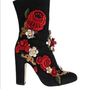 👠PRICE FIRM👠Dolce & Gabbana Black Brocade Boots